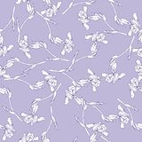 Iris flowers pattern on lilac background. Hand drawn vector illustration. vector illustration