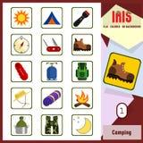 Iris Icons - camping 1 Icônes colorées par appartement Photo stock