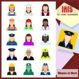Iris Icons - Vrouwen op het werk Kleurrijke Vlakke Pictogrammen Stock Foto