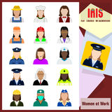 Iris Icons - Women at work. Colorful flat icons. Professions: Worker women. Set of 15 flat colored icons. No borders. No margin. Transparent background. Vector Stock Photo