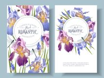 Iris round banners. Vector vintage botanical banners with iris flowers and dragonfly on white. Floral design for natural cosmetics, perfume,women products.Can be stock illustration