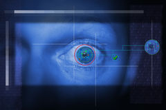Iris scan security. Security scan of iris or retina to determine identity. technology looking at eye Stock Photography