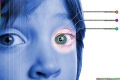 Iris scanbiometric identity. Iris scan, biometric scanning of eye retina for identification. Close-up of child pupil with high-tech graphic overlay Stock Photo