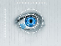 Iris scanner on blue human eye Royalty Free Stock Photo