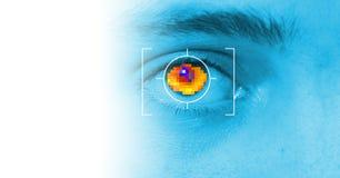Iris security scan. Of eye. digital security identification or password based on biometric data Stock Image