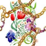 Iris und Tulpen verzieren botanische mit Blumenblume Aquarellhintergrund-Illustrationssatz Nahtloses Hintergrundmuster lizenzfreie abbildung