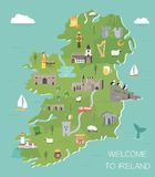 Irische Karte mit Symbolen von Irland, Reiseziele lizenzfreie abbildung