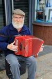 Irischer Herr, der ein buntes Akkordeon spielt, während Sie auf Straßenecke, Limerick, Irland, im Oktober 2014 gesetzt werden Lizenzfreie Stockfotos