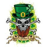 Irisches Wappen mit dem Schädel Stockbild