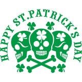 Irisches Wappen mit dem Schädel und Klee lizenzfreie abbildung