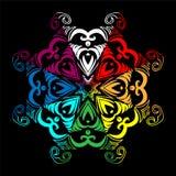 Iriserende Hand Getrokken Mandala op Zwarte Achtergrond Oosters decoratief element Stock Afbeeldingen
