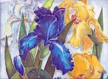 Irises batik , watercolor,pattern Royalty Free Stock Image