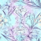 Irises. Seamless pattern. Flowers, leaves, stems and buds of irises. Use printed materials, signs, items, websites, maps, posters, postcards, packaging Stock Photography