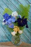 Irises. Still life with blue and yellow irises Stock Photography