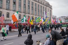 The Irish American Society in the St. Patrick`s Day parade stock photo