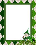 Irish argyle frame with leprechaun Stock Images