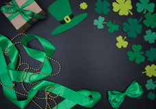 Irish background with clover leaves, green with gold beads. St.Patrick `s Day Royalty Free Stock Photos