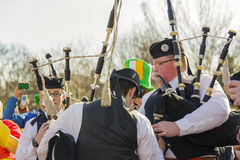 Irish bagpipers rehearsing before parade Stock Photos