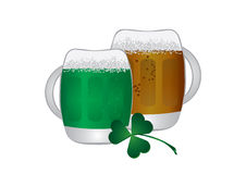 Irish beer and shamrock Royalty Free Stock Photos