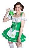 Irish Beer Woman. Beautiful irish beer woman smiling Royalty Free Stock Photography
