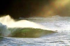 Irish Big Wave Surfing. Irish Surfing towed into a Big Irish Tube Stock Photos