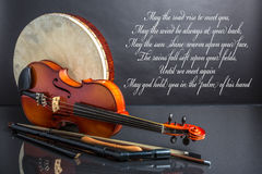 An Irish Blessing. With a collection of traditional Irish musical instruments Stock Image