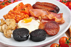 irish breakfast on a large plate royalty free stock photo