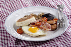 Irish breakfast with muffin on a plate Royalty Free Stock Photography