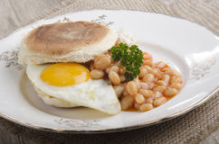 Irish breakfast muffin on a plate Royalty Free Stock Images