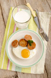 Irish breakfast with white pudding and fried egg Royalty Free Stock Photos