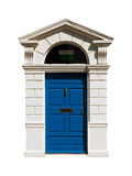 Irish building door. Gorgeous blue irish building door with a carved stone surround (isolated on white background Stock Image