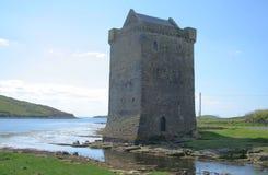 Irish castle scene. Irish castle by a stream to the sea. Carrickahowley castle, County Mayo, Ireland Stock Photos