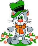 Irish cat. Funny cat in irish hat. Vector image Royalty Free Stock Photos