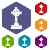 Irish celtic cross icons set hexagon Stock Image