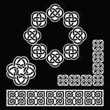 Irish Celtic patterns, knots and braids on black Royalty Free Stock Photo