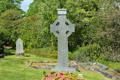 Irish Cemetery with Celtic Cross stock photo
