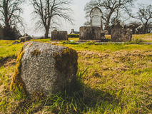 Irish cemetery, sun and grass Royalty Free Stock Photos