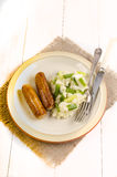 Irish champ and sausages on a plate Royalty Free Stock Image