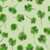 St. Patricks day Seamless background with Shamrock on Lime. Shamrock Good Luck Charm Seamless Pattern on Lime Background. St. Patrick`s Day Design for Stock Image