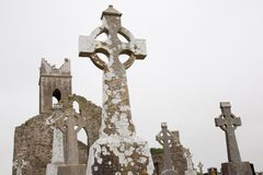 Irish christian graveyard, tomb stones with old church ruin Stock Image