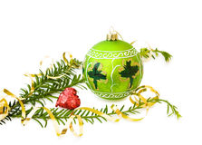 Irish Christmas with green bauble. Irish Christmas celebration with green bauble, handpainted shamrock and sparkling heart. Isolated on white background stock images