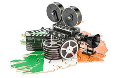 Irish cinematography, film industry concept. 3D rendering. Isolated on white background Royalty Free Stock Photos