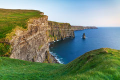 Irish Cliffs of Moher at dusk. Cliffs of Moher at sunset in Co. Clare, Ireland Stock Photography