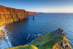 Irish Cliffs of Moher at sunset Stock Image