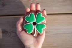 Irish clover cookie for Saint Patrick Day Royalty Free Stock Photos