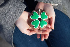Irish clover cookie for Saint Patrick Day Royalty Free Stock Photo