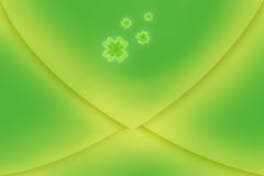 Irish clover on green envelope. Illustration of Irish four leaf clovers on green envelope background Stock Photography