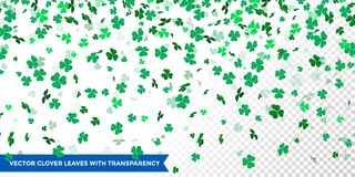 Irish clover leaves pattern for Saint Patrick Day shamrock on transparent vector background. Irish clover leaves pattern for Saint Patrick`s Day on transparent Stock Photos