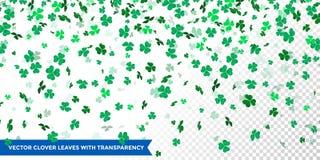 Irish clover leaves pattern for Saint Patrick Day shamrock on transparent vector background vector illustration