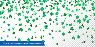 Irish clover leaves pattern for Saint Patrick Day shamrock on transparent vector background. Irish clover leaves pattern for Saint Patrick`s Day on transparent Royalty Free Stock Photography